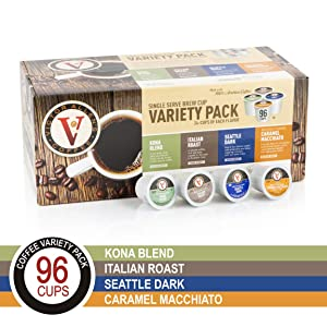 Flavored & Unflavored Coffee Variety Pack for K-Cup Keurig 2.0 Brewers, 96 Count Victor Allen's Coffee Single Serve Coffee Pods