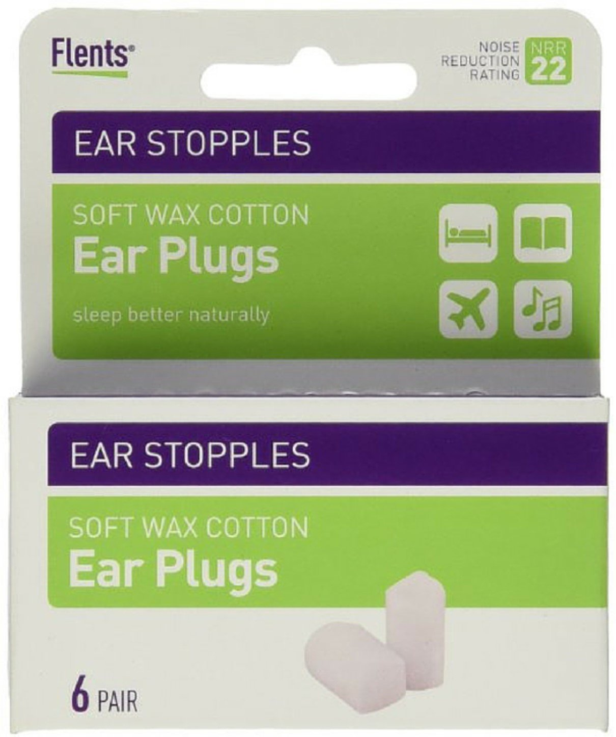 Flents Ear Stopples Wax-Cotton Ear Plugs 6 Pairs (Pack of 10)