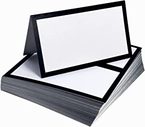 Tented Place Cards - 50 pack - Folded Place Cards are ideal as Wedding Place Cards, Buffet food label, Banquet tables, Cocktail Parties, and Name Cards. Made of 14 pt. Matte Card Stock.