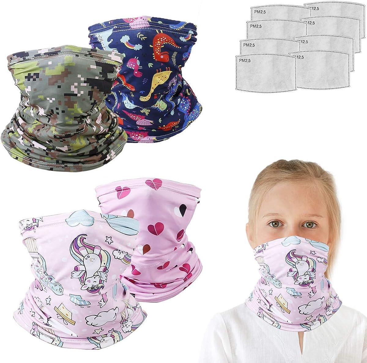 4pcs Set Face Gaiter for Kids Summer Face Covering Neck Gaiter Kid Face Scarf Children Balaclava Bandana Color 18