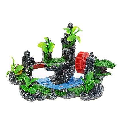 Saim - Decoración para acuario o pecera, resina, diseño de volante de agua rojo