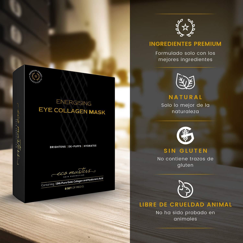 Gold Collagen Eye Mask - Mascarrilla de Oro Para Los Ojos - Reduce El Hinchazón y Las Bolsas de los Ojos - Contiene Oro Nano-Activo de 24k - 8 Par de ...