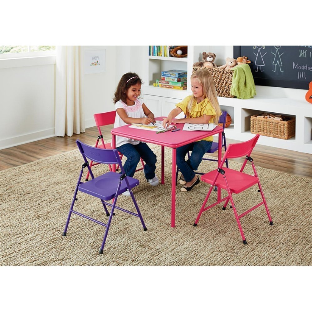 5 Piece Children's, Kids Table and Chair Set Pink / Purple Table Size: 24L x 24W x 21.5H in.
