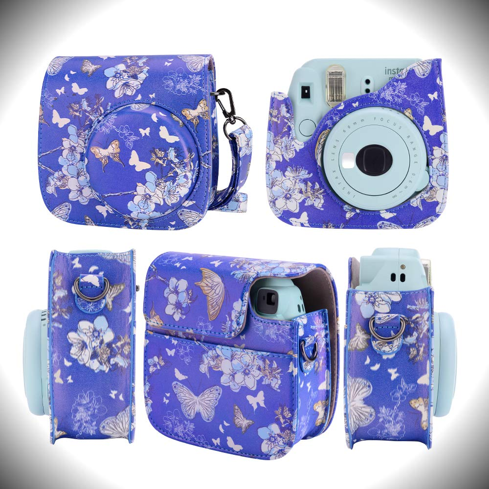 Kaka 13 in 1 Instax Mini 9 Camera Accessories for FujiFilm Instax Mini 9 8 8 Camera with Mini 9 Case//Album//Selfie Lens//Filters//Wall Hang Frames//Film Frames//Border Stickers//Pen Ice Blue
