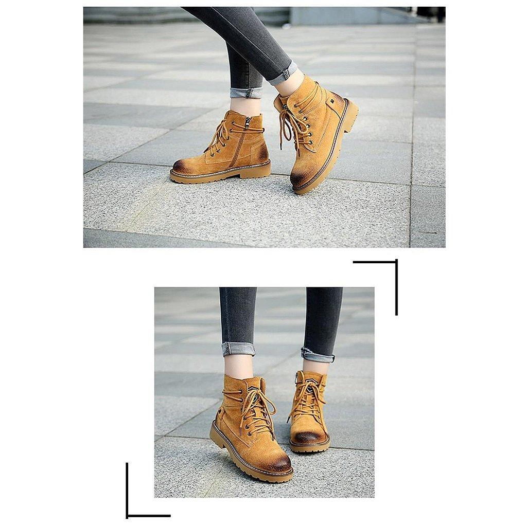 Frau Herbst Martin Stiefel Herbst Frau und Winter Retro Leder Stiefel Studenten flache Stiefel ( Farbe : Braun , größe : US:5\UK:4\EUR:35 ) Braun b8dba7