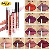 10pcs/Set Makeup Matte Lipstick Lip Kit, Velvety Liquid Lipstick Waterproof Long Lasting Durable Nude Lip Gloss Beauty…