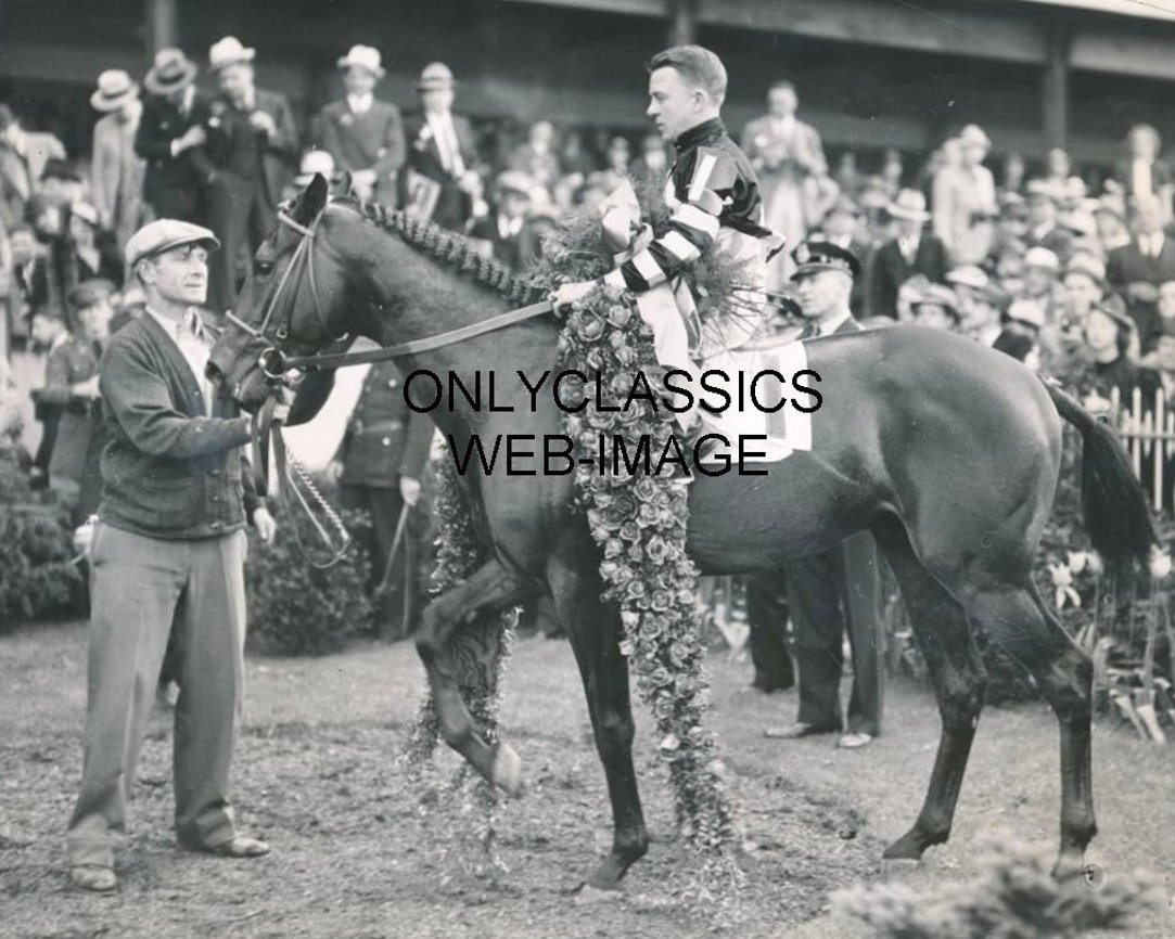 OnlyClassics 1937 Kentucky Derby WAR Admiral Horse Racing Rose Wreath Winners Circle Photo