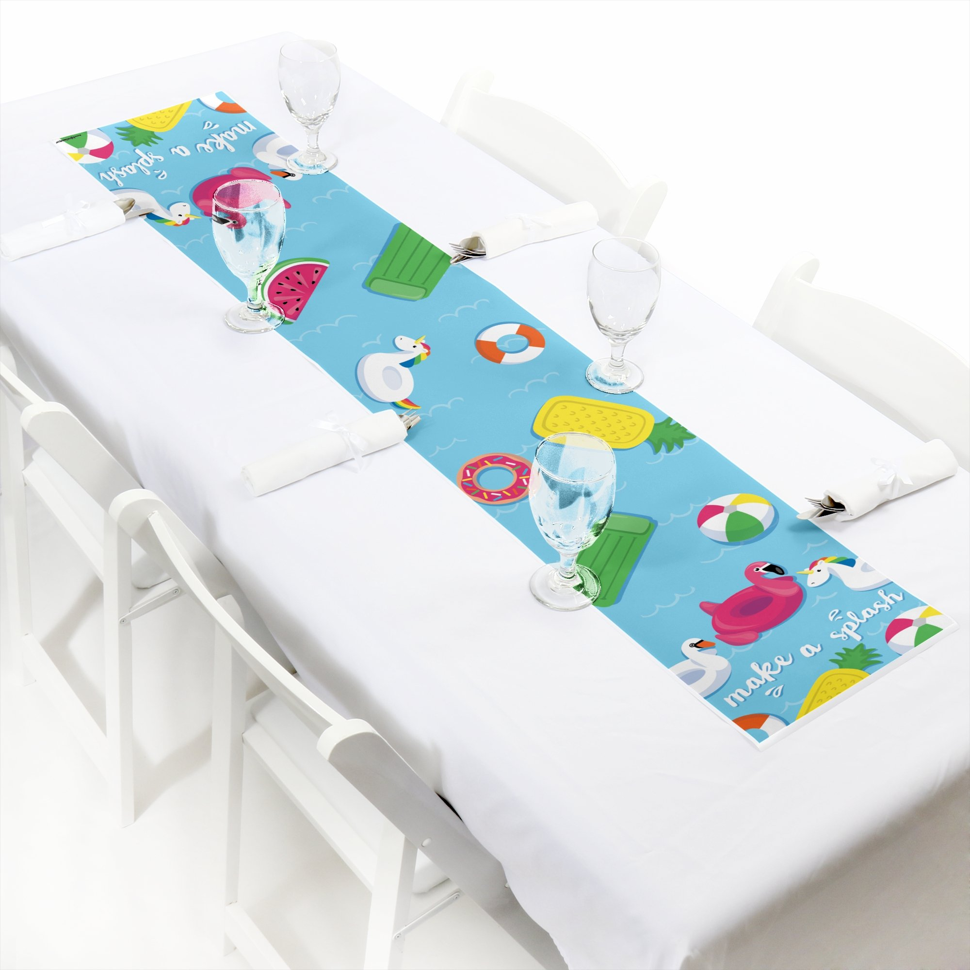 Big Dot of Happiness Make A Splash - Pool Party - Petite Summer Swimming Party or Birthday Party Paper Table Runner - 12'' x 60''
