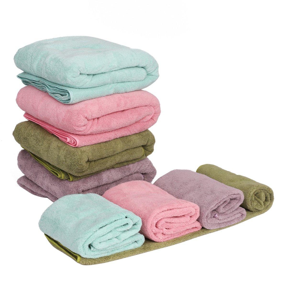 LONTG Toalla de baño (terciopelo de coral - Juego de 1 toalla 34 * 85 cm y 1 toallas de baño y playa 75 * 150 cm dulce confortable piscina gimnasio, Rose, ...