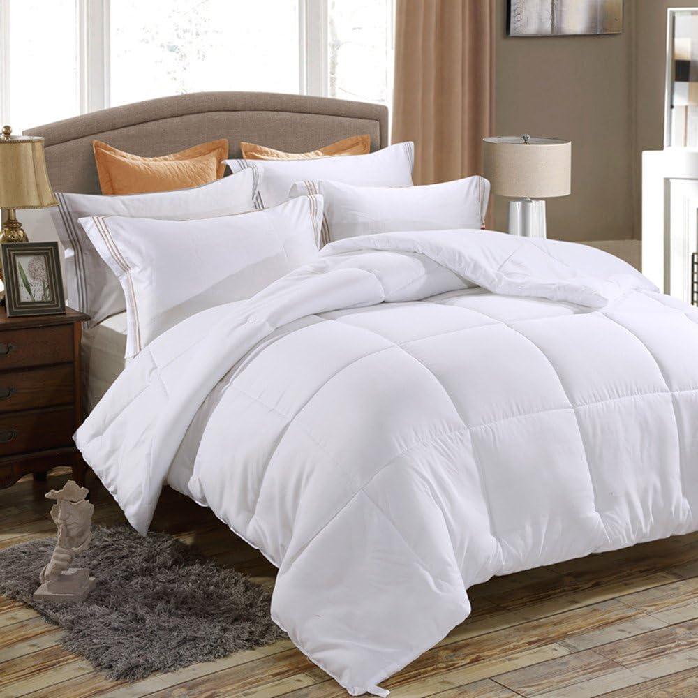Juwenin bedding,Down Alternative Comforter, Duvet Insert, Medium Weight for All Season (King, Pure White)