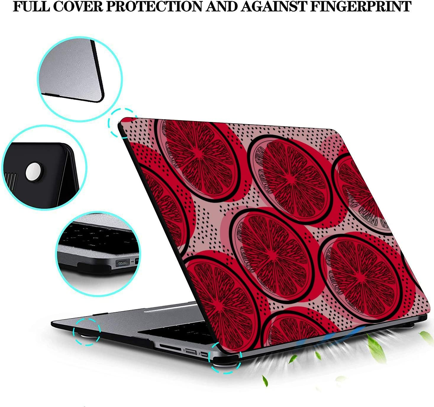 MacBook Cover 13 Inch Round Summer Painting Fruit Red Pomelo Plastic Hard Shell Compatible Mac Air 11 Pro 13 15 MacBook Pro A1989 Case Protection for MacBook 2016-2019 Version