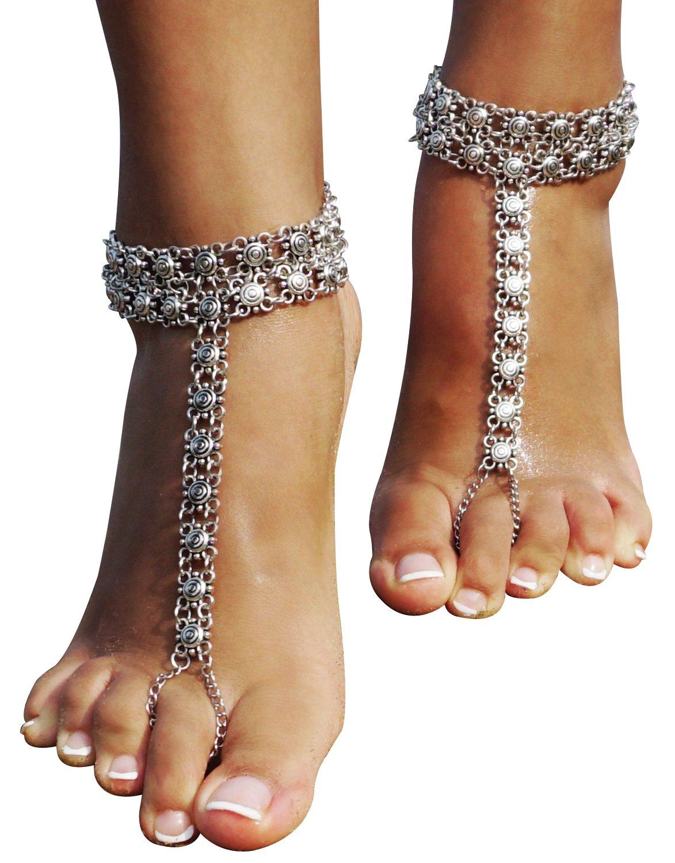 Bienvenu 1 Pair Boho Vintage Silver CoinTassel Anklets Foot Jewelry,Sliver_2