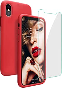 JASBON Case for iPhone Xs Max, Liquid Silicone Shockproof Phone Cover with Free Screen Protector for iPhone Xs Max 6.5 inch-Red