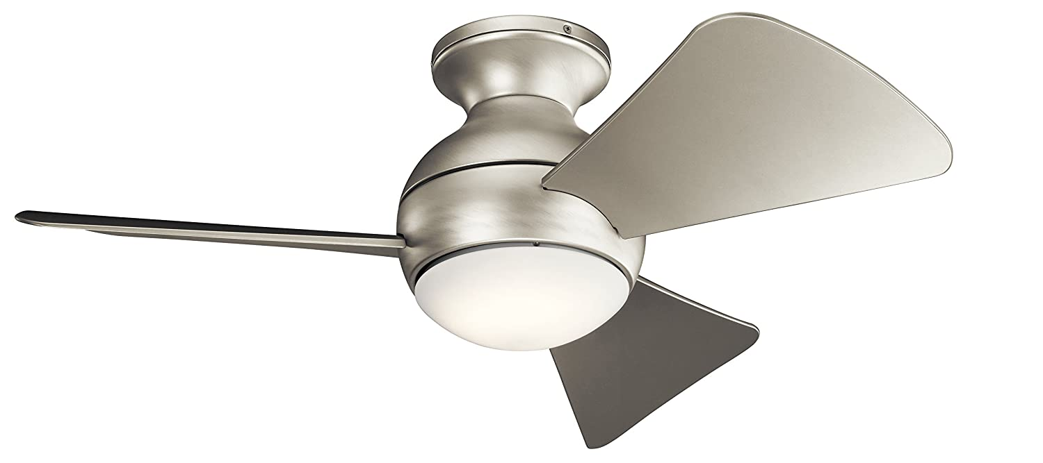 """Kichler330150NI Sola Ceiling Fan With Light Kit, Brushed Nickel, 34"""""""