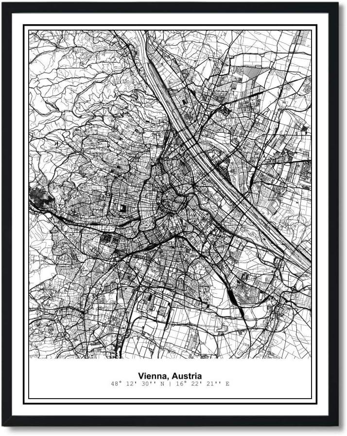 Susie Arts 8X10 Unframed Vienna Austria Metropolitan City View Abstract Street Map Art Print Poster Wall Decor V305