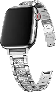 SICCIDEN Slim Bling Bands Compatible with Apple Watch Band 44mm 42mm 40mm 38mm, Women Thin Diamond Rhinestone Stainless Steel Metal Band Strap for iWatch SE Series 6/5/4/3/2/1 (Silver, 44mm 42mm)