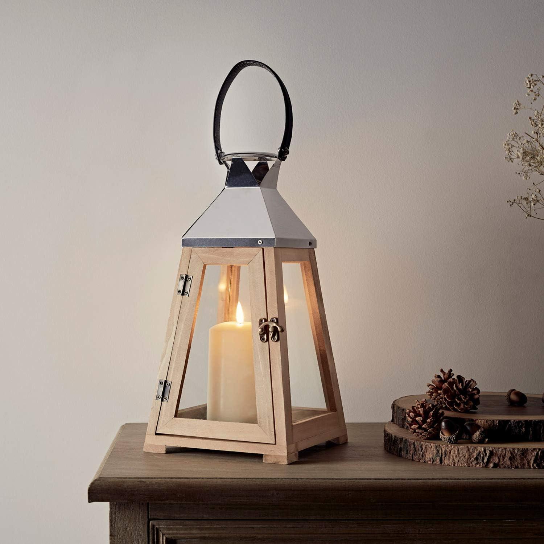 Lights4fun Lanterne Trap/èze en Bois avec Anse de 36cm avec Bougie TruGlow/®