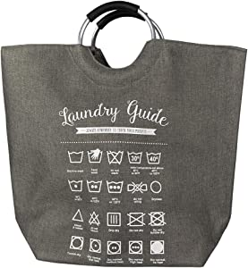 Home Basics Laundry Guide Canvas Hamper Tote with Soft Grip Handles, Collapsible Fabric Bag, Folding Washing Bin, Storage Basket, Grey