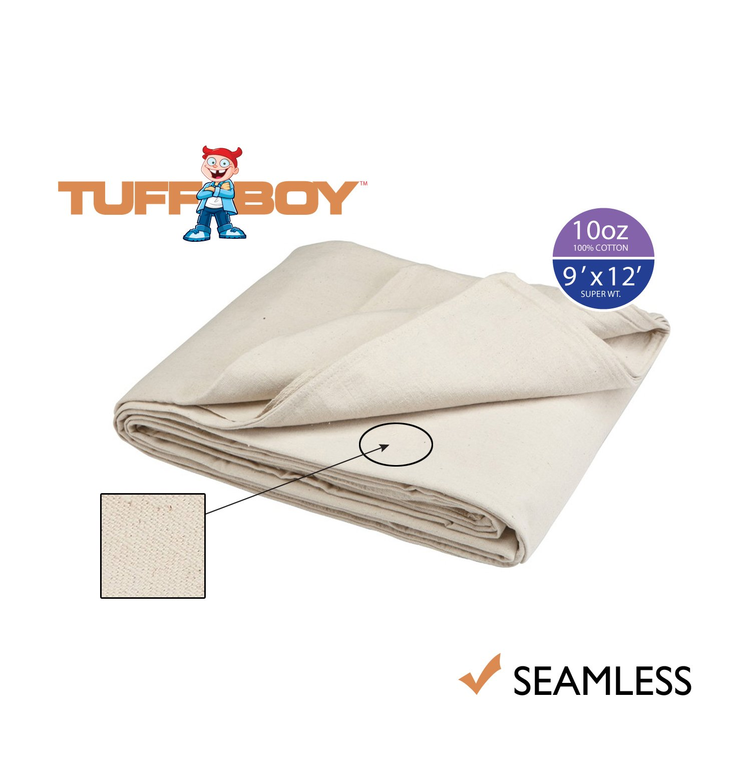 TUFFBOY 10 OZ. Super Weight Cotton Canvas All Purpose Drop Cloth 9Ft. X 12Ft.   SEAMLESS