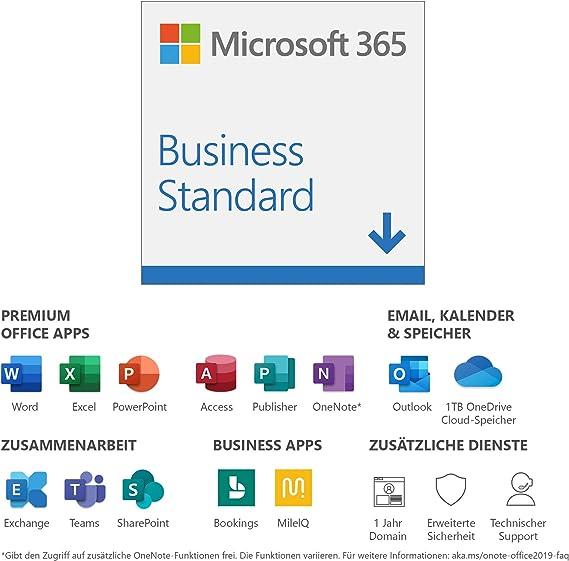 Microsoft 365 Business Standard 1 Nutzer 5 Pcs Macs 5 Tablets Und 5 Mobile Geräte 1 Jahresabonnement Download Code Software