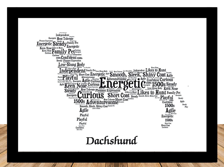 Dachshund Dog Lover Gifts for Women, Men, Mom, Dad • Personalize Custom Art Print Portrait Merchandise • Handmade USA • Mat+Mount 11 x 14
