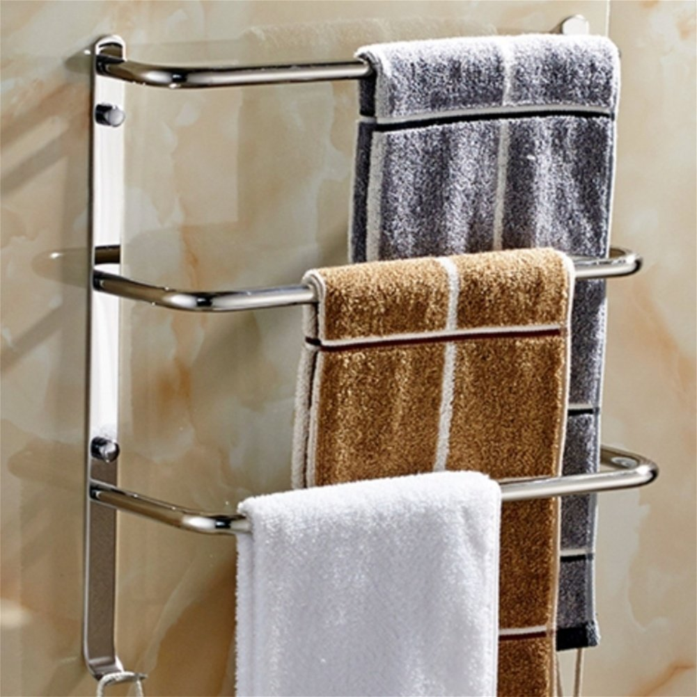 RSQJ Punch-free 304 stainless steel Towel rack Towel rack Three-tier towel bar Bathroom Toilet Wall unit Multilayer (3437cm) by RSQJ Towel rack
