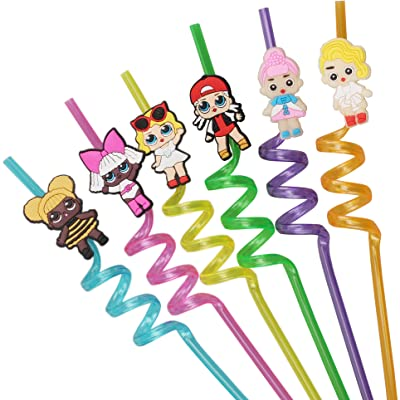 LOL Birthday Party Supplies Drinking Plastic Straws Reusable For Kids party favors: Kitchen & Dining