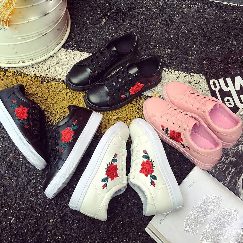 JiaMeng Mujer Gimnasia Ligero Sneakers Zapatillas Moda Correas Deporte Zapatillas de Deporte Zapatos de Flor de Bordado: Amazon.es: Ropa y accesorios
