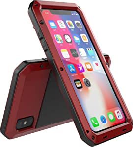 iPhone Xs Max Case, Amever Aluminum Metal Case with Silicone Frame - Water Resistant Shockproof Heavy Duty Tempered Glass Screen Protector Dual Layer Protective Case for Apple iPhone Xs Max - Red