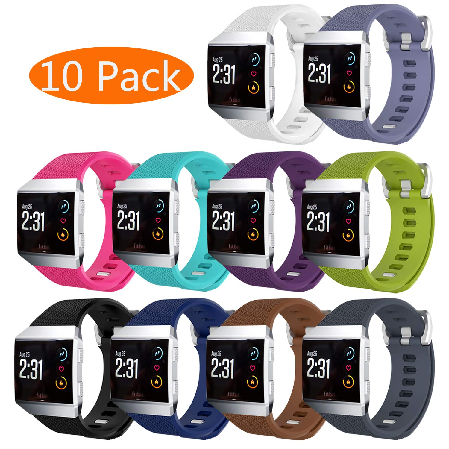 12e44d60ecc49 KingAcc Fitbit Ionic Strap, Soft Accessory Replacement Bands Straps for Fitbit  Ionic, With Metal Buckle Fitness Sport Wristband Band Women Men Large Small  ...