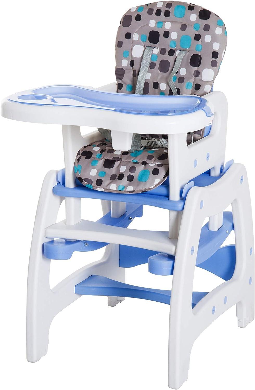 3 en 1 Trona para beb/és Silla Convertible Multifuncional Infantil con Mesa Trona de 6 Meses a 6 a/ños para Beb/é y Ni/ños Azul y Verde