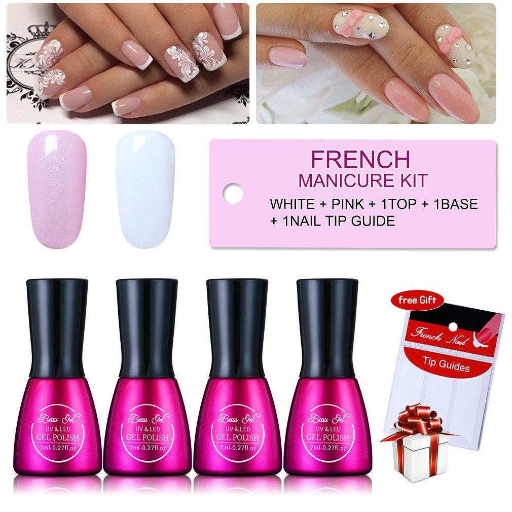 Amazon Com Uv Gel Nail Polish Soak Off French Manicure Set Beau