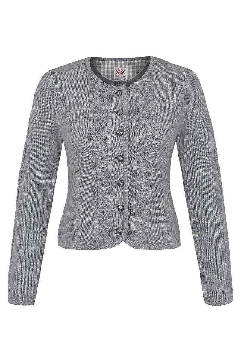 Spieth & Wensky Damen Damen Trachten Strickjacke mit Zopfmuster grau, grau, BONN