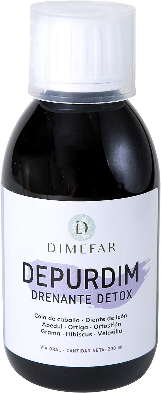 DIMEFAR - Depurdim - Drena + Detox + Control Peso - Cola de Caballo + Hibiscus + Diente de León + Ortosifón + Grama + Velosilla + Ortiga + Abedul, 200ml | Drenante | Detox | Eliminar Grasas