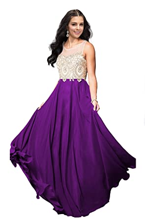 2ddbd14dcc39 Lily Wedding Womens Beaded Lace Applique Prom Dress 2019 Long ...