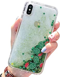 UnnFiko Liquid Watermelon Case iPhone 7 Plus/iPhone 8 Plus, Summer 3D Cute Quicksand Stars Flowing Floating Bling Glitter Sparkle Soft Case for Girls Women (Watermelon, iPhone 7 Plus / 8 Plus)