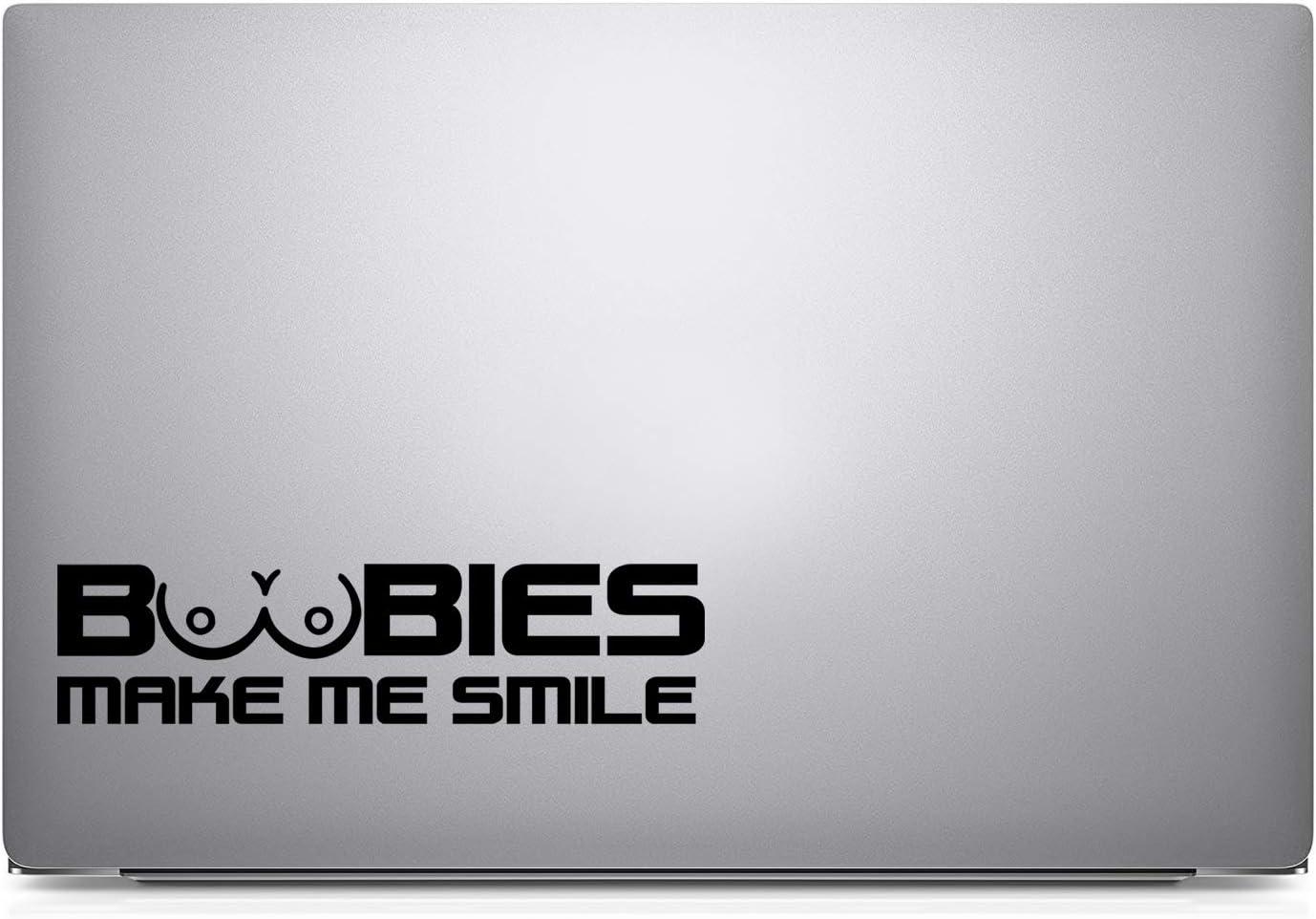 Crawford Graphix Boobies Make Me Smile Rude Funny Symbol Funny Bumper Car Van Bike Sticker Decal 6, Black