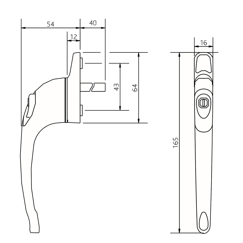 Pack of 1 ERA 40mm Gold Maxim Inline Locking Window Handles