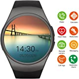 Bluetooth Smartwatch Phone with SIM Card Slot,1.3 inch Round Large Touch Screen Smart Fitness Watch with Heart Rate Monitor Pedometer for iPhone Android Cellphone (Black)