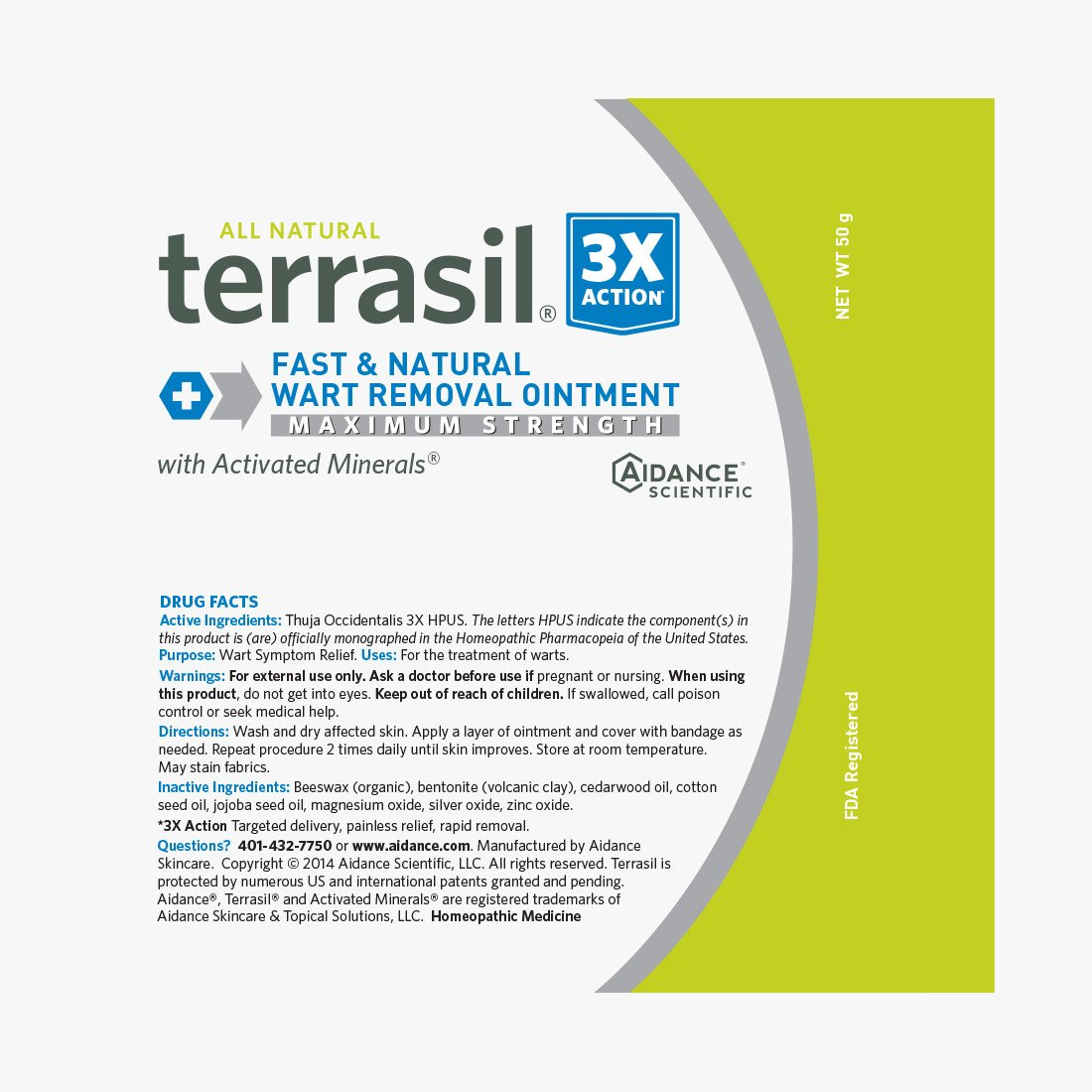 Terrasil Fast & Natural Wart Removal Ointment (50 Gram, Max) by Aidance Skincare & Topical Solutions