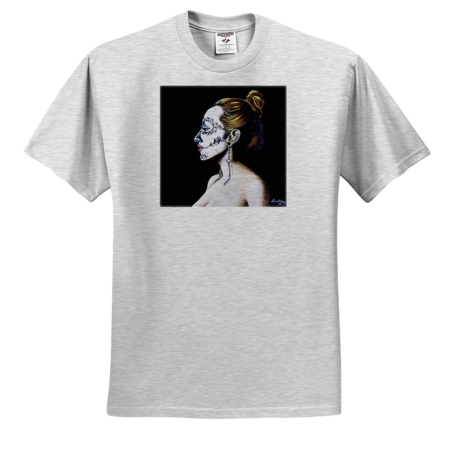 - T-Shirts 3dRose Art by Mandy Joy Girls an Image of a Girl with Day of The Dead Make-up Day of The Dead