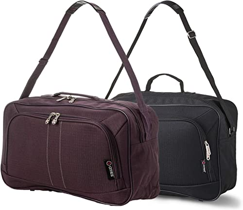 16 Inch Carry On Hand Luggage Flight Duffle Bag, 2nd Bag or Underseat, 19L Black Plum