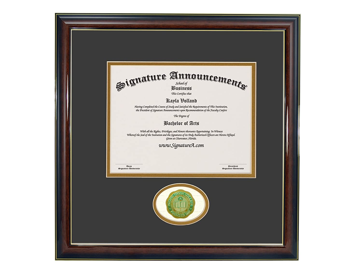 Signature Announcements Pacific Union College Undergraduate Sculpted Foil Seal Graduation Diploma Frame 16 x 16 Gloss Mahogany with Gold Accent
