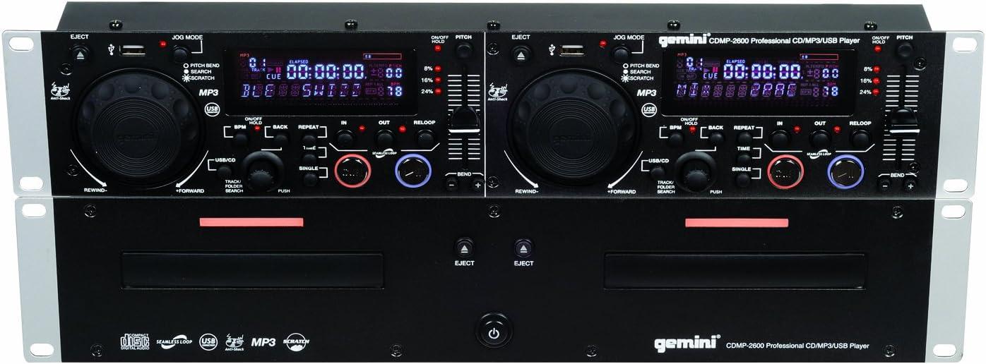 GEMINI CDMP-2600 Professional 2U Dual CD//MP3//USB//WAV Player w// Anti-Shock NEW