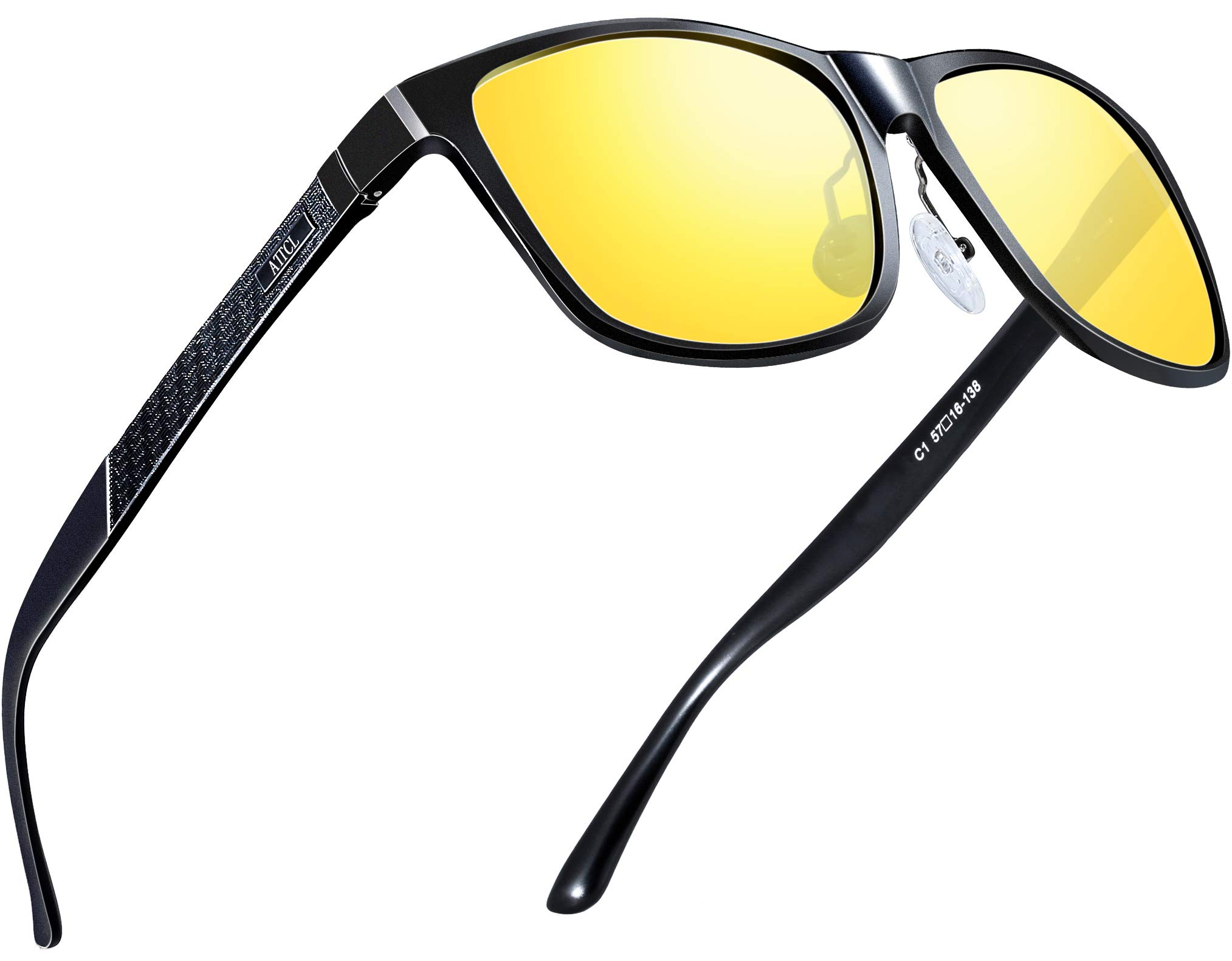ATTCL Men's HD Night Vision Driving Glasses Sunglasses Al-Mg Metal Frame Ultra Light 8587 Yeshi