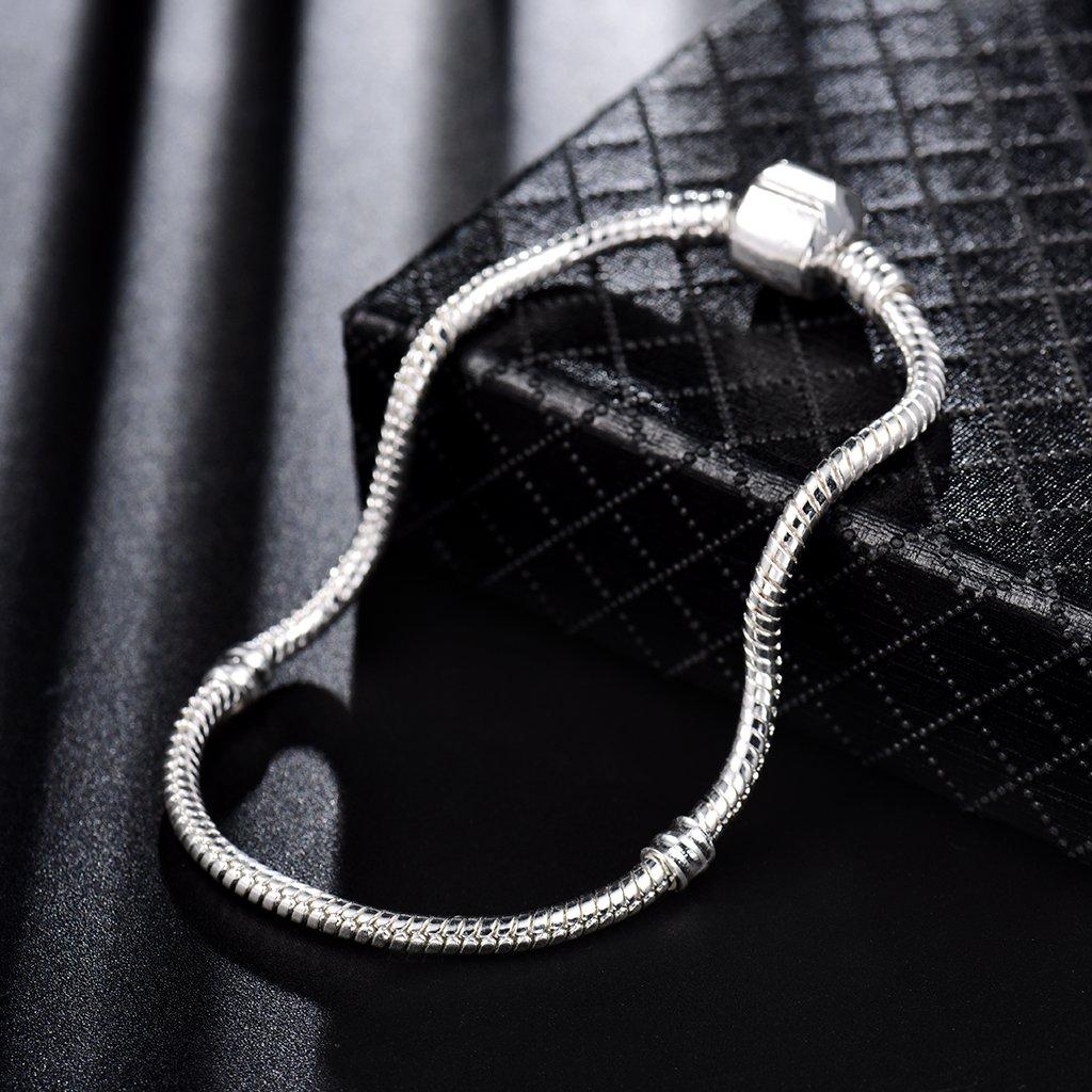 MASOP 925 Silver Plated Barrel Clasp Snake Chain Charm Bracelet 17cm 19cm 21cm