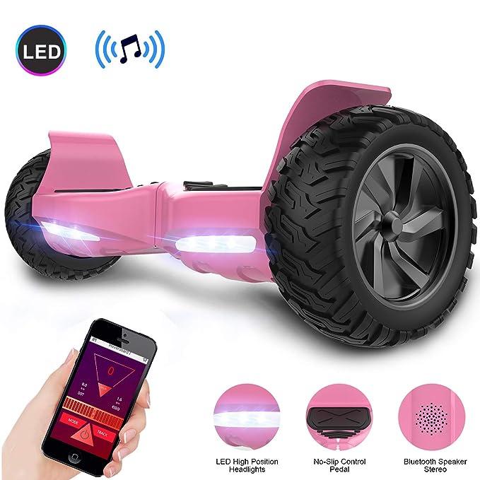 GeekMe Hoverboard Todo Terreno Scooter de Equilibrio con Potente Motor Luces LED App Bluetooth para Adultos y Niños 8.5 Pulgadas