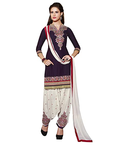 5767214e987 Amazon Great Indian Sale Dresses for women party wear Designer Clothing  Today Offer Low Price Sale Navy Blue Color Crepe Fabric Free Size Salwar  Suit  ...