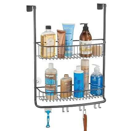 mDesign Colgador de ducha para la mampara – Elegantes estantes para baño sin  taladros – Estanterías a213be44c248