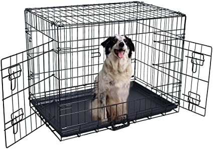 "20/""—48/"" Pet Kennel Dog Folding Steel Crate Animal Playpen Wire Metal Cage Crates"